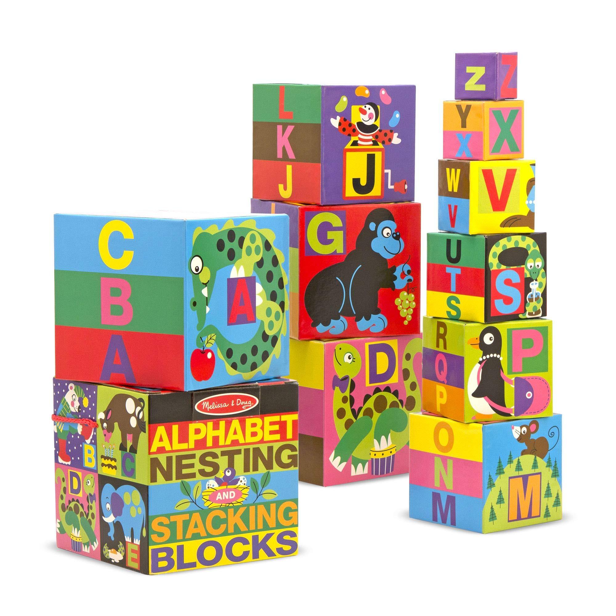 Melissa & Doug Alphabet Nesting and Stacking Blocks, Developmental Toys, Easy Storage, Durable Construction, 10 Cardboard Nesting Boxes, 5.9″ H × 5.9″ W × 5.9″ L