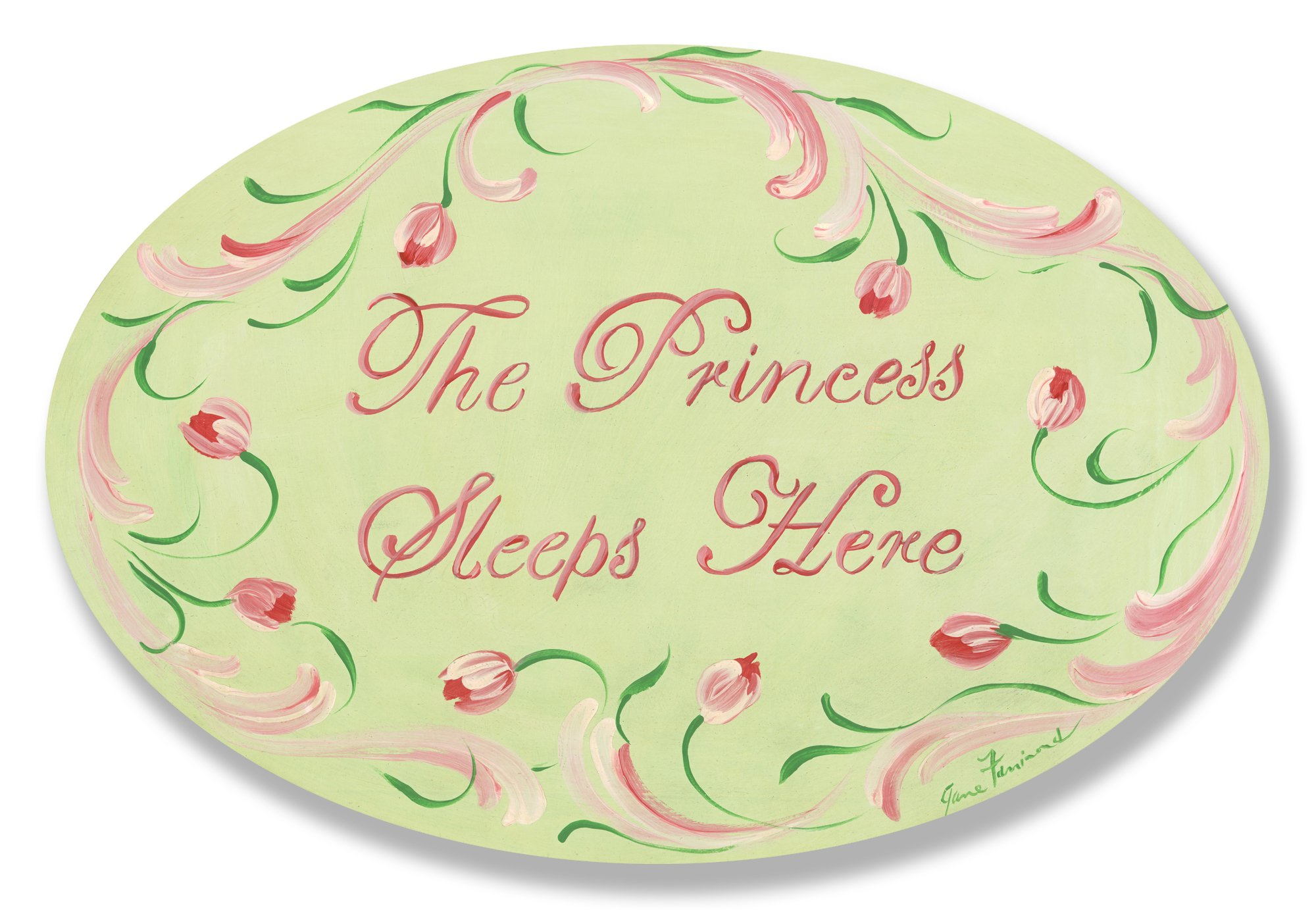 The Kids Room by Stupell The Princess Sleeps Here With Pink Tulip Border Oval Wall Plaque, 10 x 0.5 x 15, Proudly Made in USA