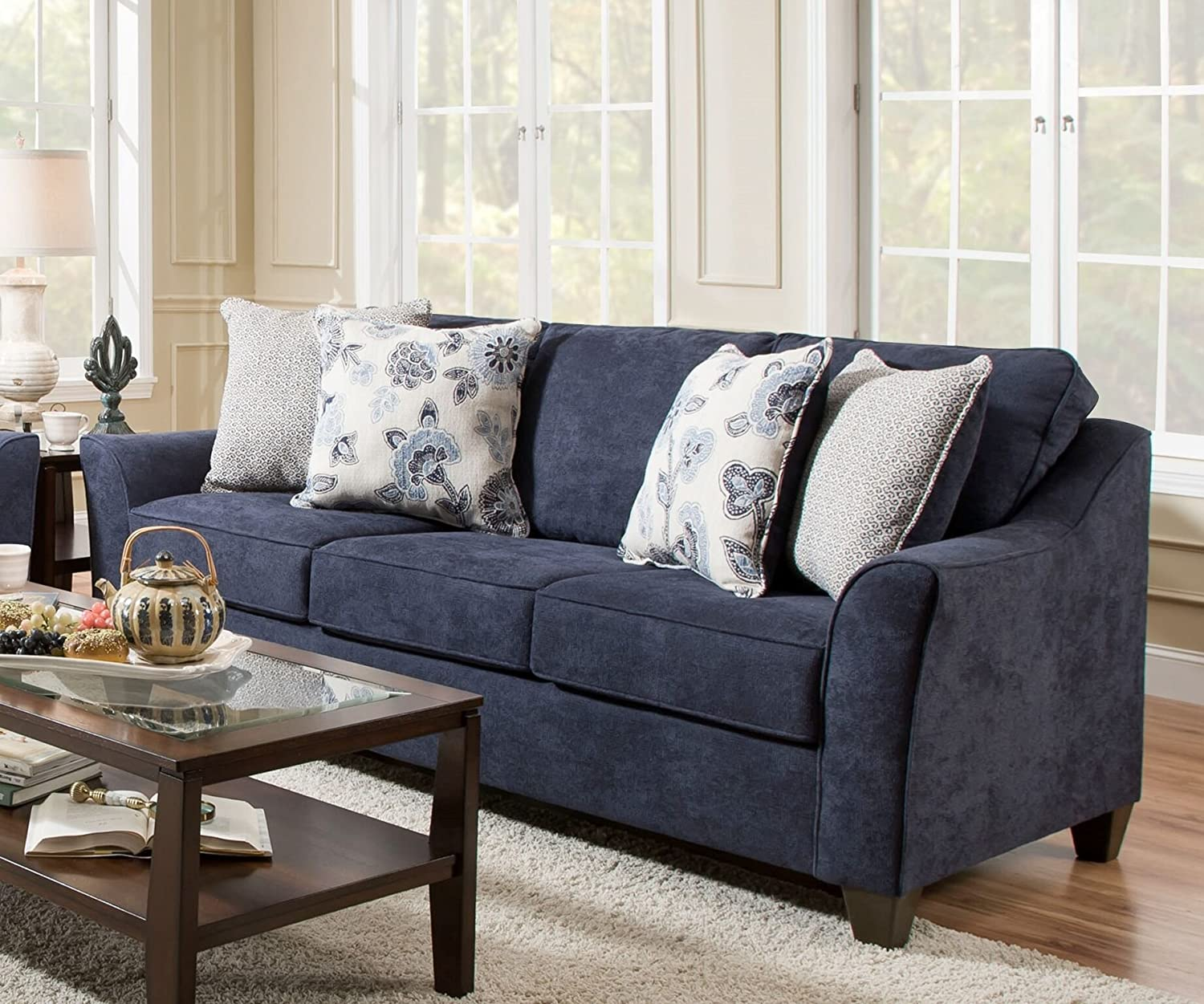 Pleasant Amazon Com Simmons Upholstery 4330 04Q Prelude Navy Sleeper Home Interior And Landscaping Dextoversignezvosmurscom