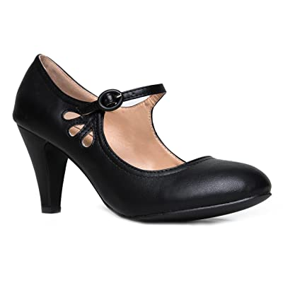 Kitten Heels Mary Jane Pumps By Zooshoo- Adorable Vintage Shoes- Unique Round Toe Design With An Adjustable Strap, Black, 7 B(M) US | Pumps
