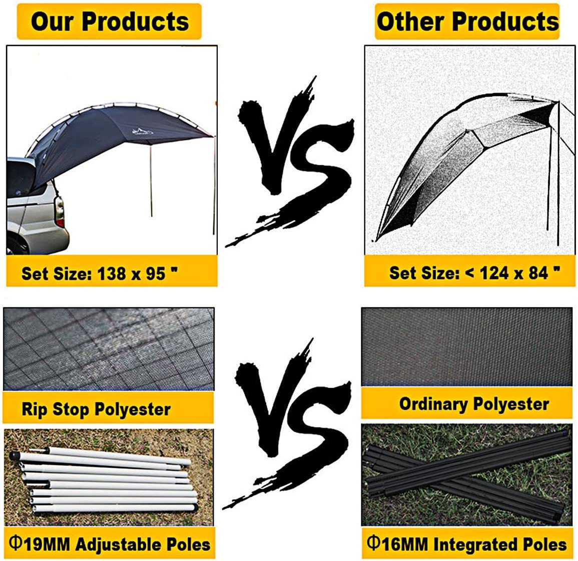 Blue Grey Trailer and Overlanding Light Weight Truck Canopy Durable Tear Resistant Tarp Car Tent for Sun-Shade and UV//Water Protection Versatility Teardrop Awning for SUV RVing Car Camping