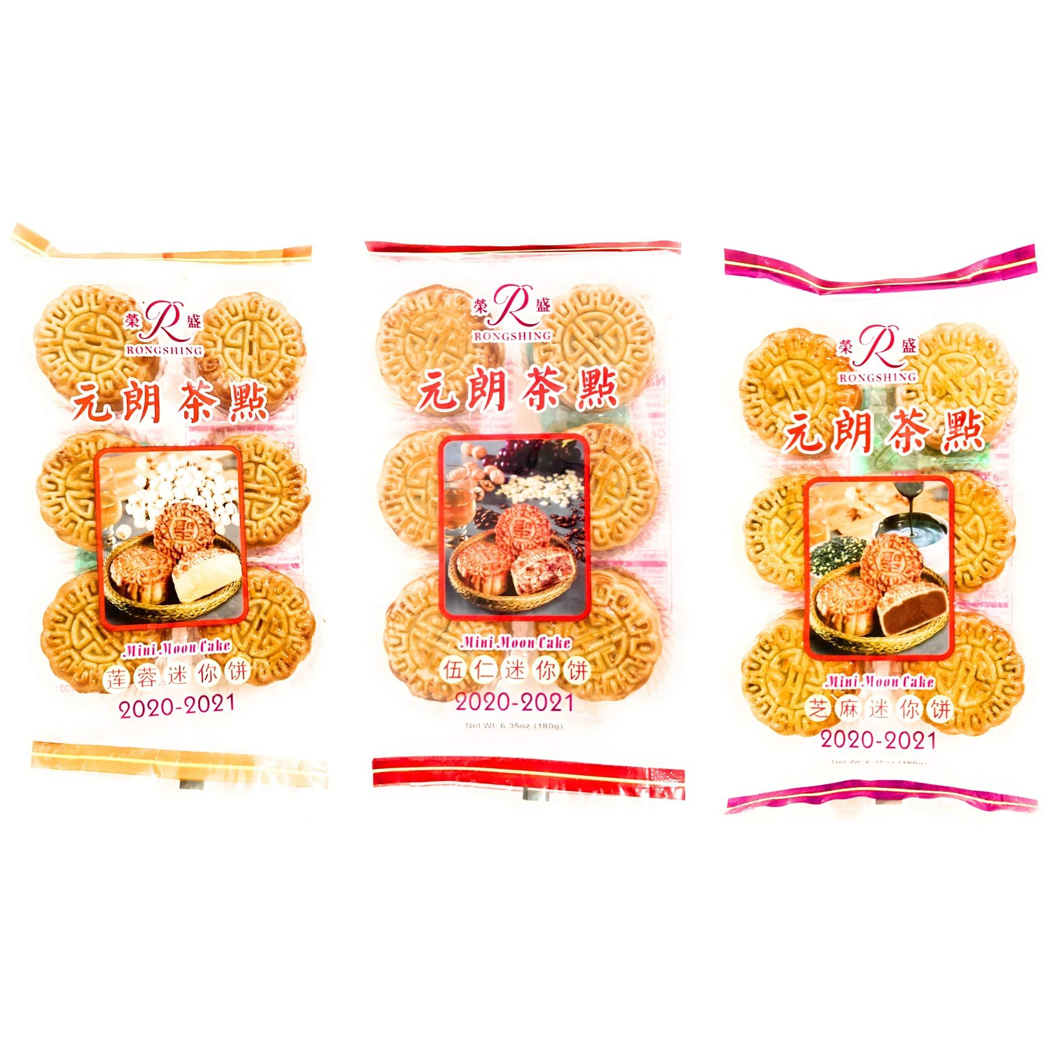 Rongshing Mini Moon Cake Combo (Five Nut.Lotus Seed Paste.Sesame)-2 Pack Each.6.35 Oz Each
