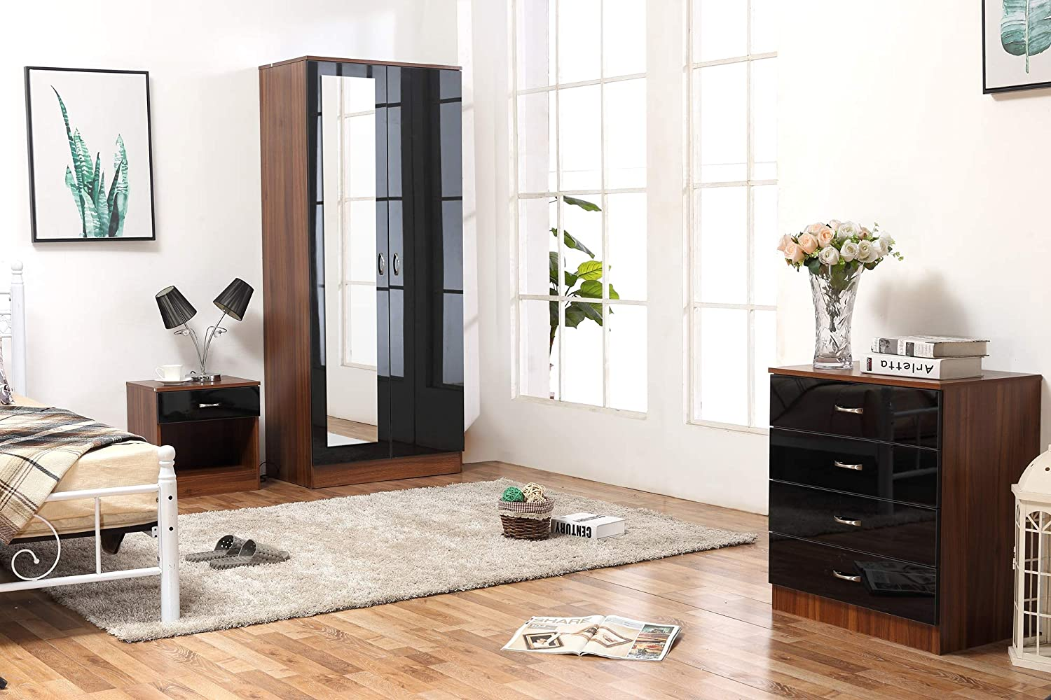 Mirrored High Gloss 3 Piece Bedroom Furniture Set - Soft Close Wardrobe, 4 Drawer Chest, Bedside Cabinet (Black on Walnut) Harmin Ltd