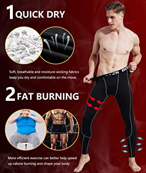 Boyzn Mens 2 Pack Sports Compression Pants Cool Dry Active Base Layer Tights Workout Running Leggings