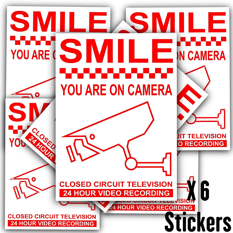 Monitoring enregistrement vid/éo cam/éra de vid/éosurveillance avertissement de s/écurit/é autocollants en vinyle 6 Souriez vous /êtes film/és x Rouge sur blanc 120 mm