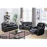 Lifestyle Furniture 3-Pieces Reclining Living Room Sofa Set,Drop Down Table,Bonded Leather,Black(LS2890B-3PC)