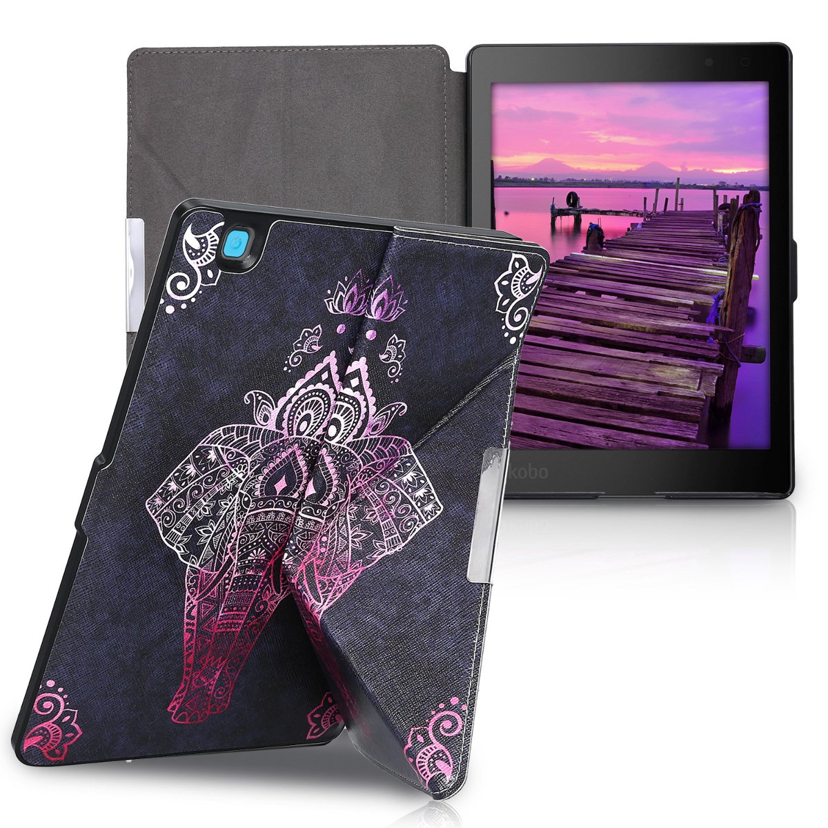 kwmobile Cover case for Kobo Aura ONE with stand - Ultra slim case made of synthetic leather Elephant Sketch in dark pink anthracite by kwmobile (Image #6)