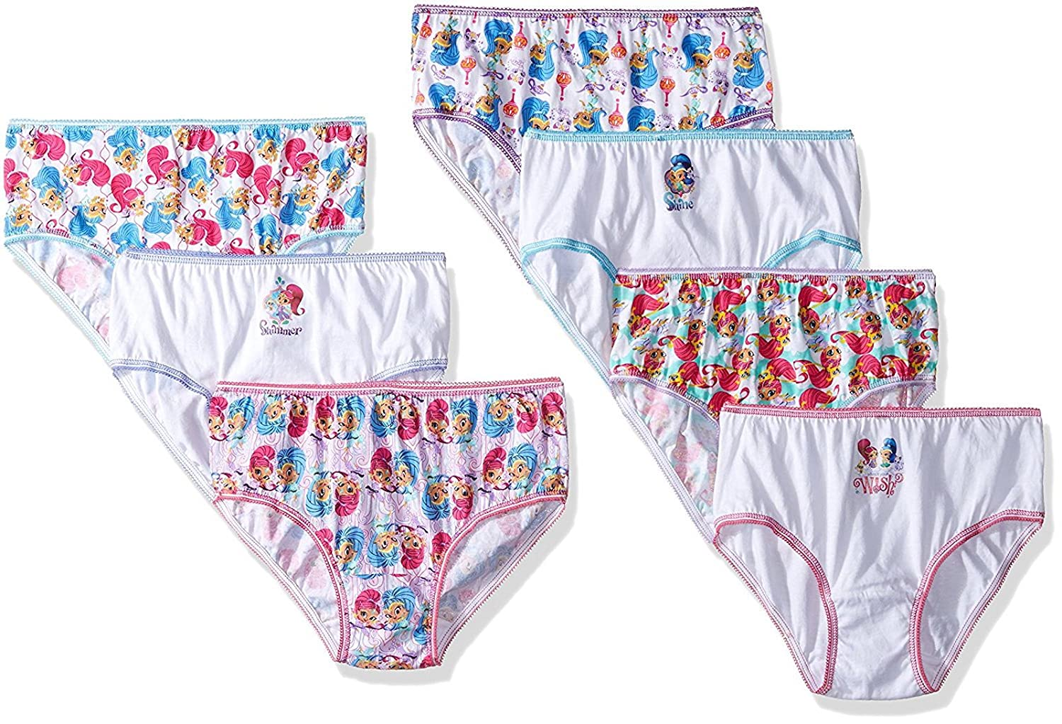 Nickelodeon Little Girls' Shimmer and Shine 7pk Underwear Panties Sizes: 4-6