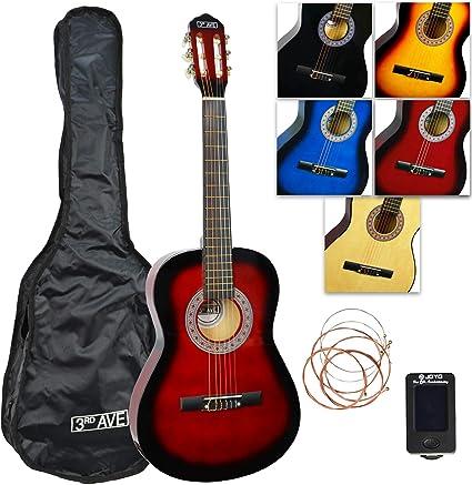 Oferta amazon: 3rd Avenue STX20CRBPK Paquete de guitarra clásica de tamaño 3/4, Rojo (Redburst), Paquete