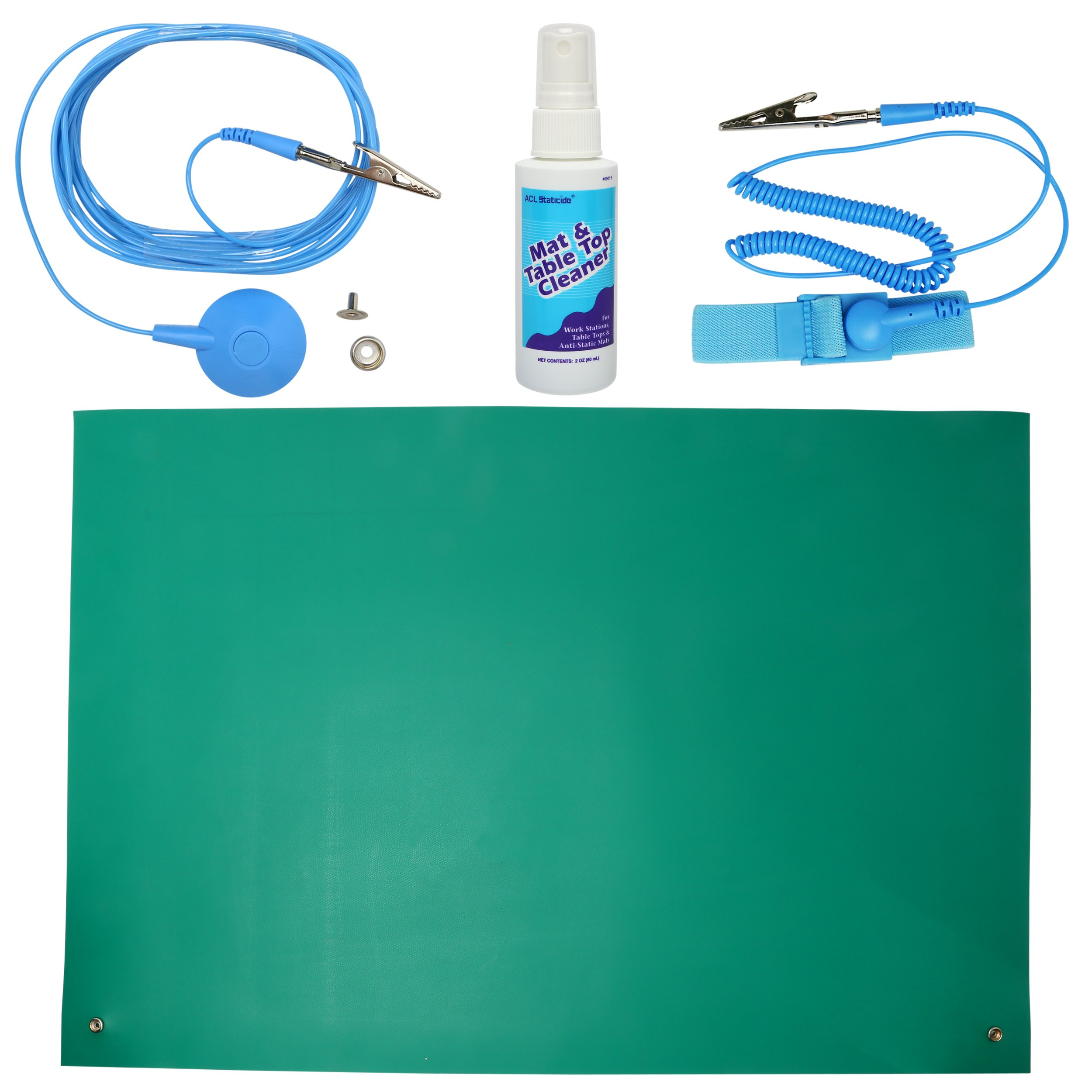 ESD High Temperature Mat Kit | 16'' x 24'' | Emerald Green | with (1) ESD Wrist Strap, (1) ESD Grounding Cord, (1) Bottle of Mat Cleaner