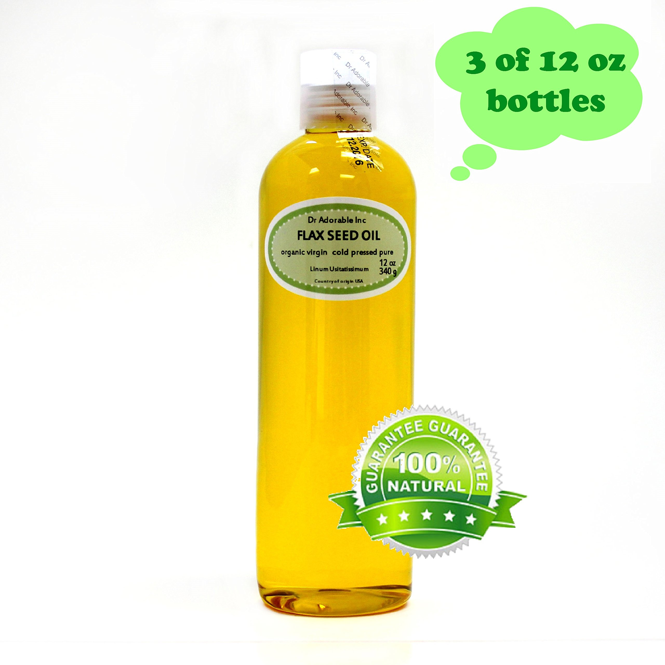 Flax Seed Oil Organic Pure 36 Oz by Dr Adorable