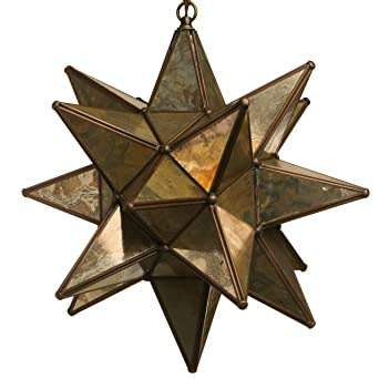 18 inch moravian star pendant light antique mirror glass - Star Pendant Light