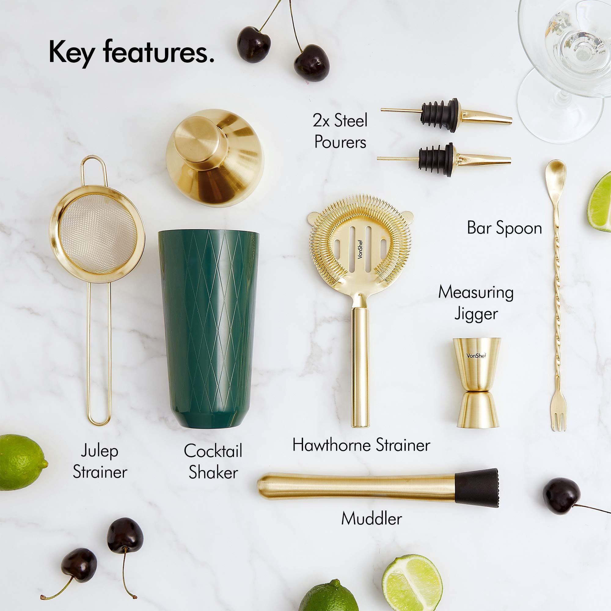 VonShef Green & Gold Cocktail Shaker Set in Gift Box with 16oz Shaker, Muddler, Bar Spoon, Jigger, Hawthorne Strainer, Julep Strainer, Bottle Pourer and Recipe Book by VonShef (Image #3)