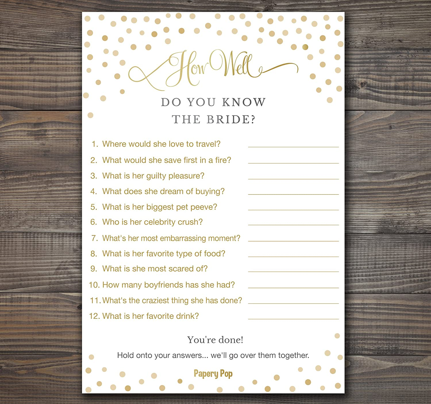 how well do you know the bride 50 sheets bridal shower