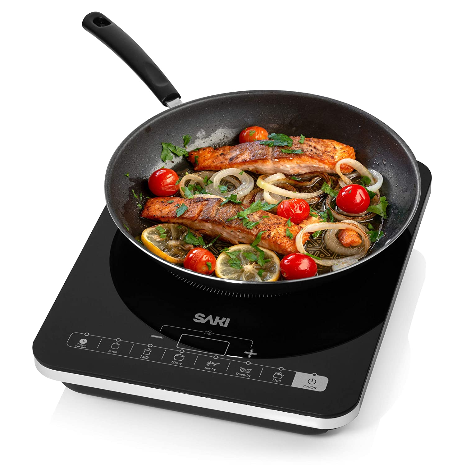 Saki Induction Cooker – 1800W Portable Induction Cooktop Countertop Burner Electric Stovetop, 8-level power control, Touch Sensor, Kids Safety Lock, Timer, for stainless steel Pot & Pan