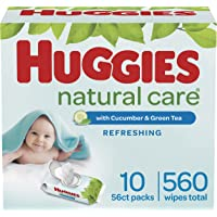 Baby Wipes, Huggies Natural Care Refreshing Baby Diaper Wipes, Hypoallergenic, Scented, 10 Flip-Top Packs (560 Wipes…