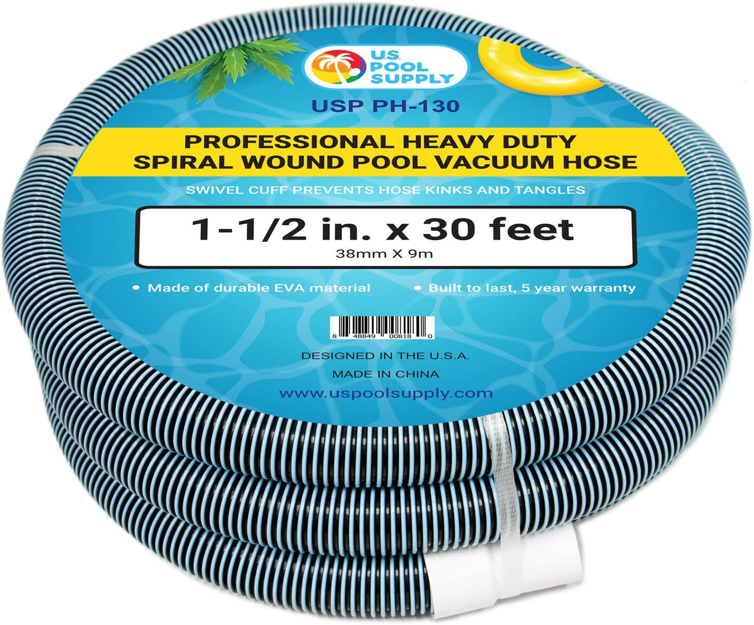 "U.S. Pool Supply 1-1/2"" x 30 Foot Professional Heavy Duty Spiral Wound Swimming Pool Vacuum Hose with Swivel Cuff"