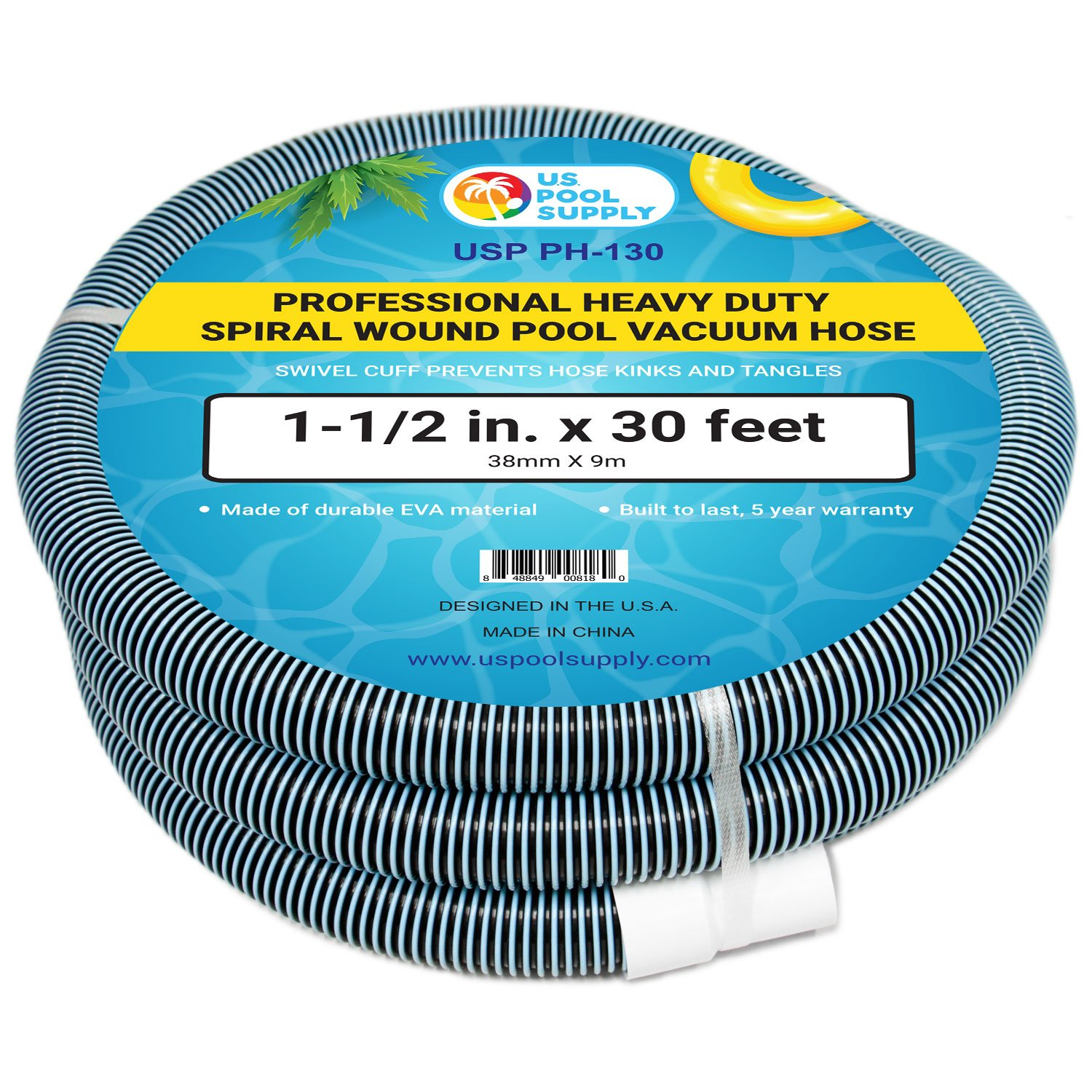 U.S. Pool Supply 1-1/2'' x 30 Foot Professional Heavy Duty Spiral Wound Swimming Pool Vacuum Hose with Swivel Cuff by U.S. Pool Supply