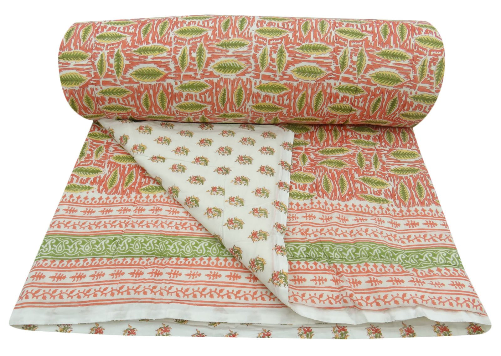 Leaves Pattern Home Decor Queen Size Pink Quilt Cotton Filled Bedsheet Gudri 110'' x 92''