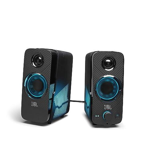 サテライトスピーカー2基とサブウーファーで構成された2.1chシステムのゲーミングスピーカー。透明感のある高音から迫力の低音まで再現する。接続方式はUSB・3.5mm音声ジャック・Bluetoothから選べる万能タイプ。コンテンツと連動するLIGHTSYNC RGB搭載でサテライトスピーカーに搭載されたLEDライトによる光の演出を楽しめる。