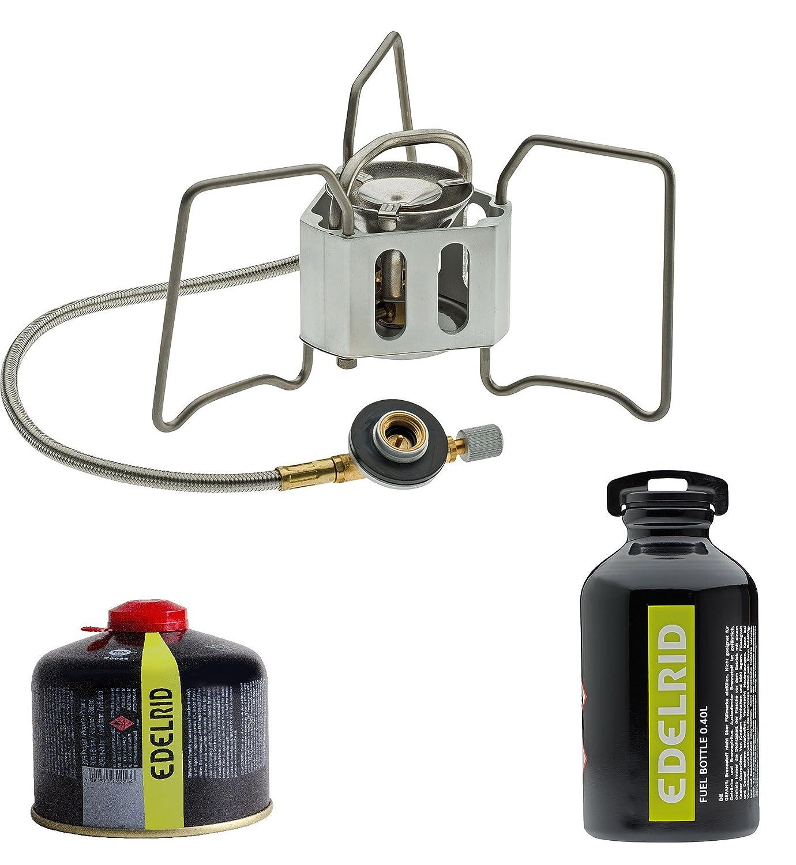 Edelrid Hexon Multifuel Kocher für Gas und Benzin Gaskartusche 230g