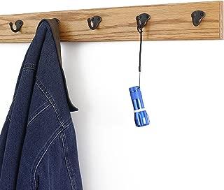 "product image for PegandRail Oak Coat Rack with Aged Bronze Single Style Hooks (Golden Oak, 25.5"" x 3.5"" with 5 Hooks)"