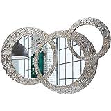 Pintdecor Circles Piccola Specchiera, legno_composito, Argento, 74 x 50 cm