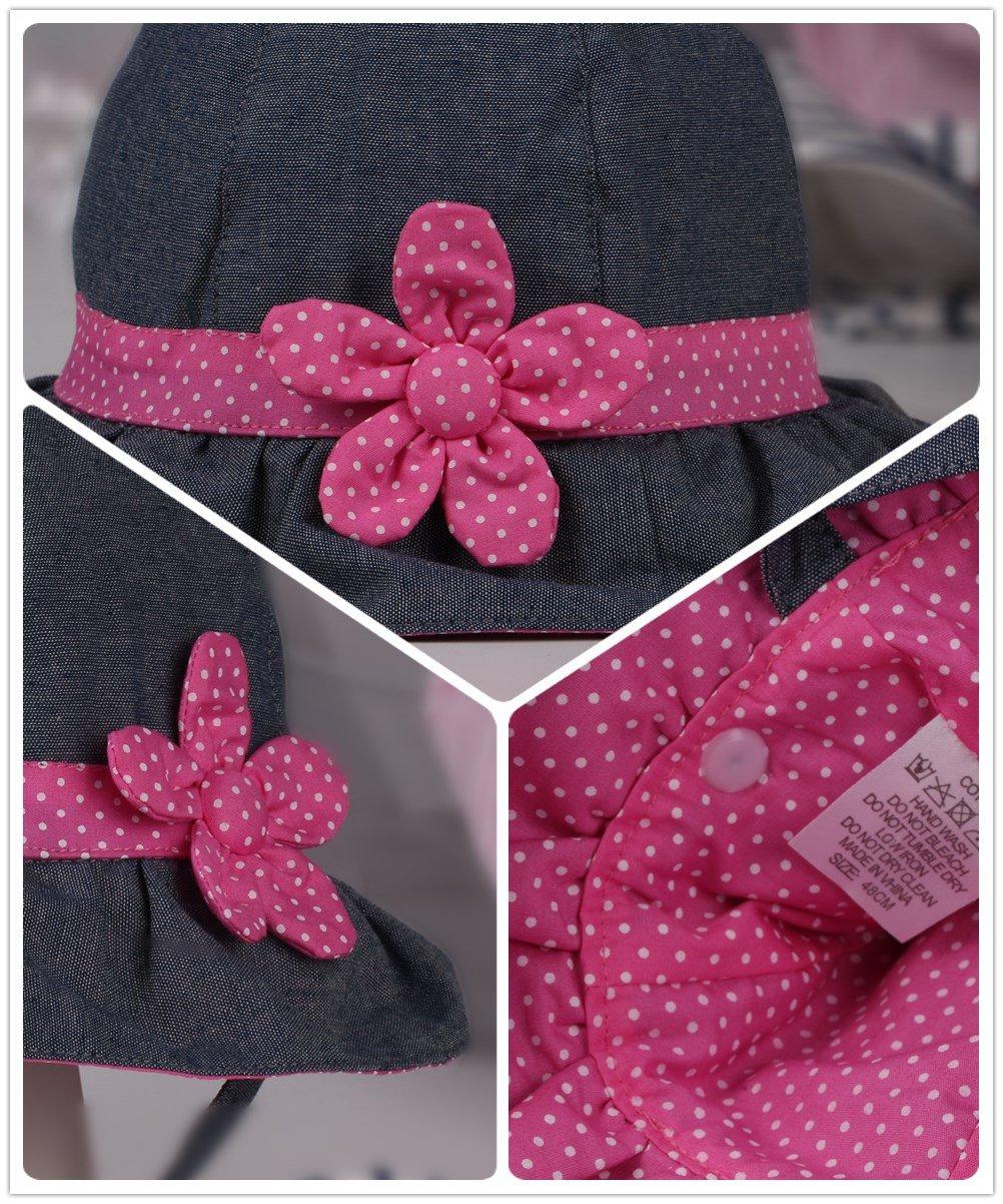 Toddler Baby Girls Denim Sun Hats with Chin Strap Kid Summer Cotton Sunhat Polka Dot Caps by HUIXIANG (Image #4)