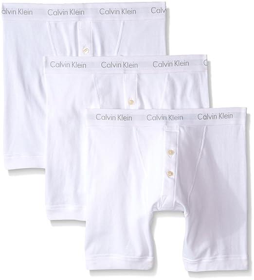 3d6a51f0842d Calvin Klein Men's 3-Pack Cotton Classics Button-Fly Boxer Brief, White  Large at Amazon Men's Clothing store: