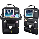 Car Back Seat Organizer with Table Tray for Baby PU Leather Foldable Dining Table Desk SUASI Back Seat Tablet Ipad Holder Tissue Storage Bag Pockets for Kids Travel(1 Pack)