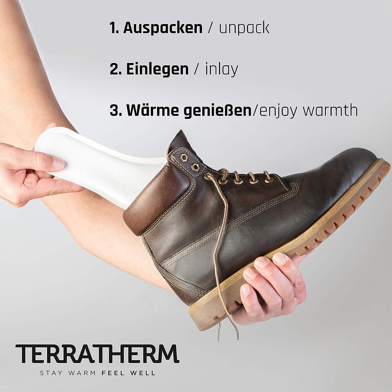 Almohadillas t/érmicas con Forma de Plantilla para los pies TerraTherm Calentadores de pies para Zapatos pies Calientes por 8 Horas; 5 Pares XL Plantillas t/érmicas