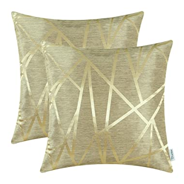CaliTime Pack of 2 Throw Pillow Covers Cases for Couch Sofa Home Decor Modern Shining & Dull Contrast Triangles Abstract Lines Geometric 18 X 18 Inches Gold