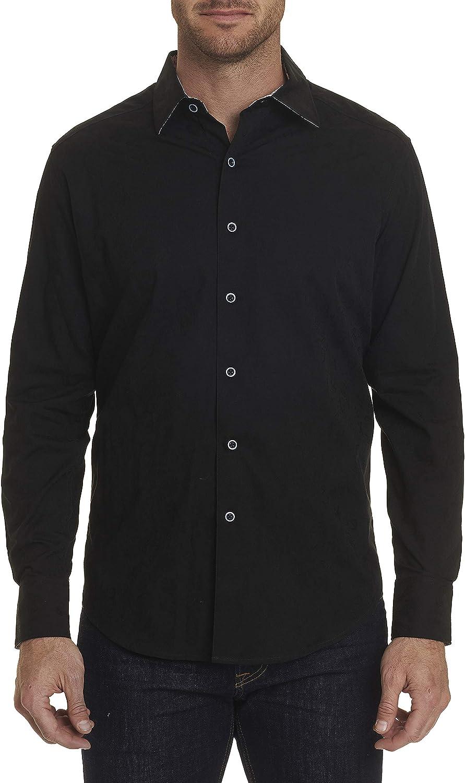 Robert Graham Hanging Gardens L/S Paisley Printed Woven Shirt Classic Fit Black Large