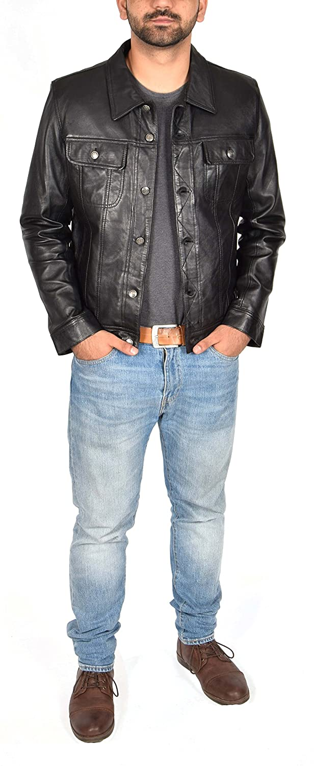 Solo Mens REAL Black Leather Jacket Western Fitted Trucker Denim Style Jacket