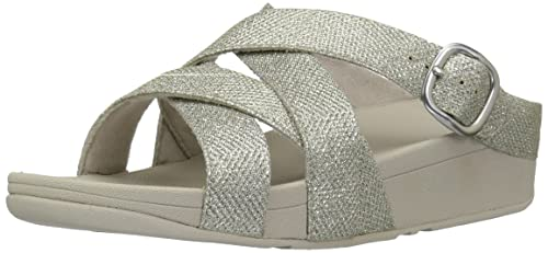 1fcca7d4d30aa0 FitFlop Women s The Skinny Sparkle Criss-Cross Slide Flip Flop  Buy ...