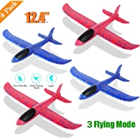 """4 Pack Foam Airplane Toys, 12.4"""" Throwing Foam Plane, 3 Flight Mode Glider Plane, Flying Toy for Kids, Gifts for 3 4 5 6 7 Year Old Boy&Girl, Outdoor Sport Toys Birthday Party Favors Foam Airplane"""