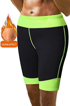 062edf197e Amazon.com  Pneacimi Womens Sauna Neoprene Shorts Workout Thermo Sweat Pants  with Phone Pockets for Weight Loss  Clothing