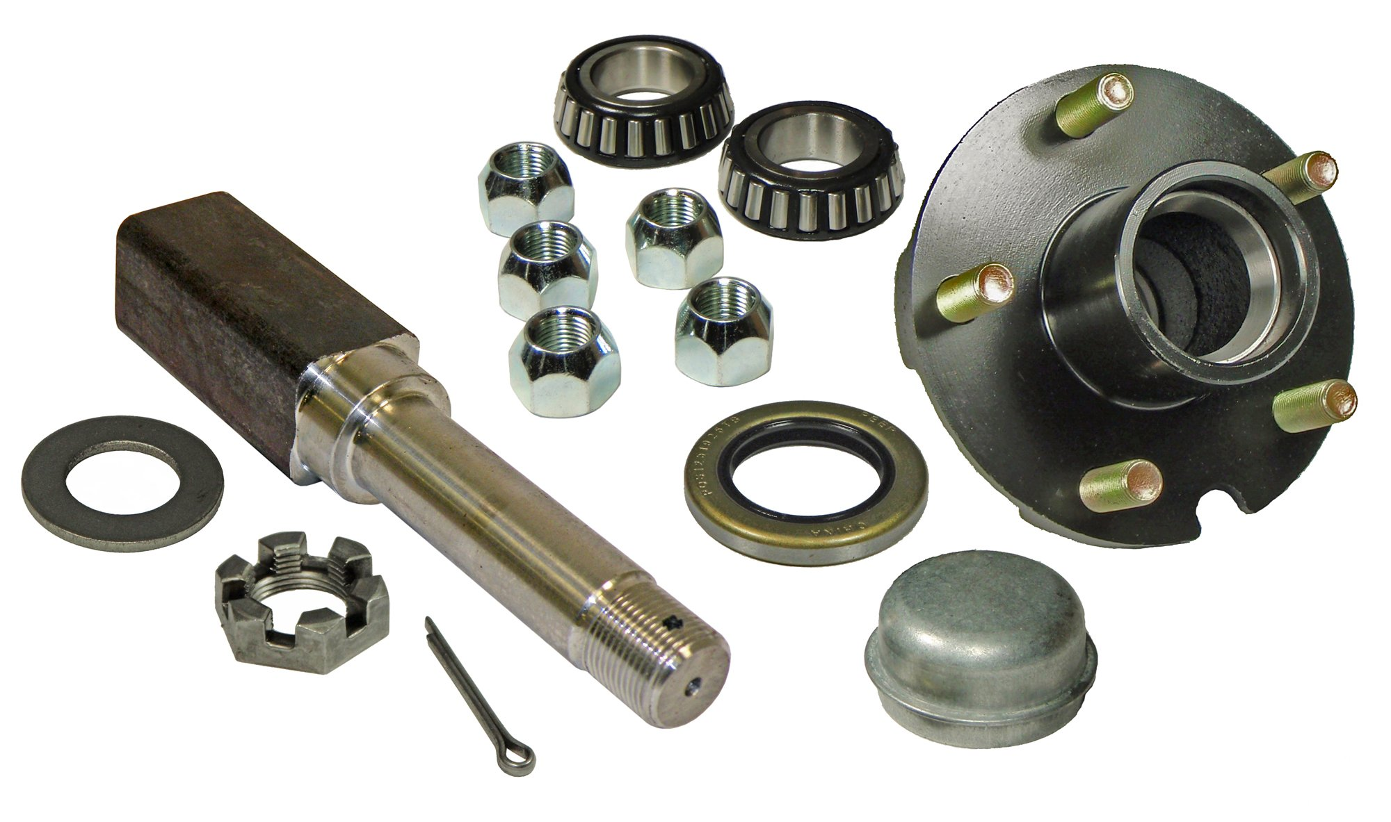 Rigid Hitch Single - 5-Bolt on 4-1/2 Inch Hub Assembly (SQ-2000545) Includes (1) Square Stock 1 Inch Straight Spindle & Bearings by Rigid Hitch