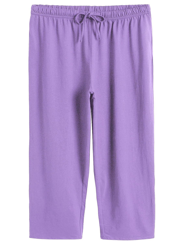Purple Latuza Women's Cotton Capri Pants Sleep Capris