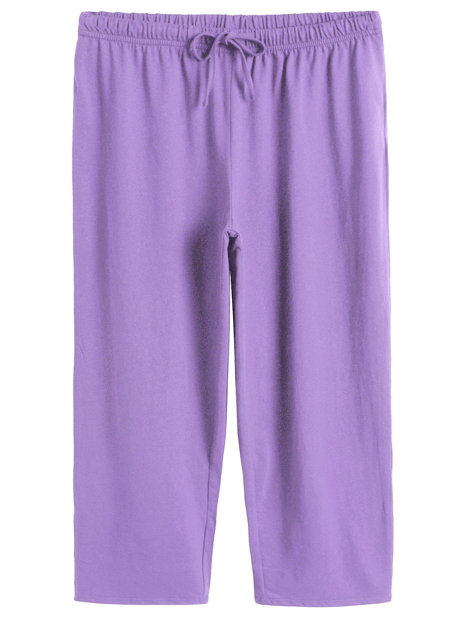 1849dbe248 Latuza Women s Cotton Capri Pants Sleep Capris M Purple
