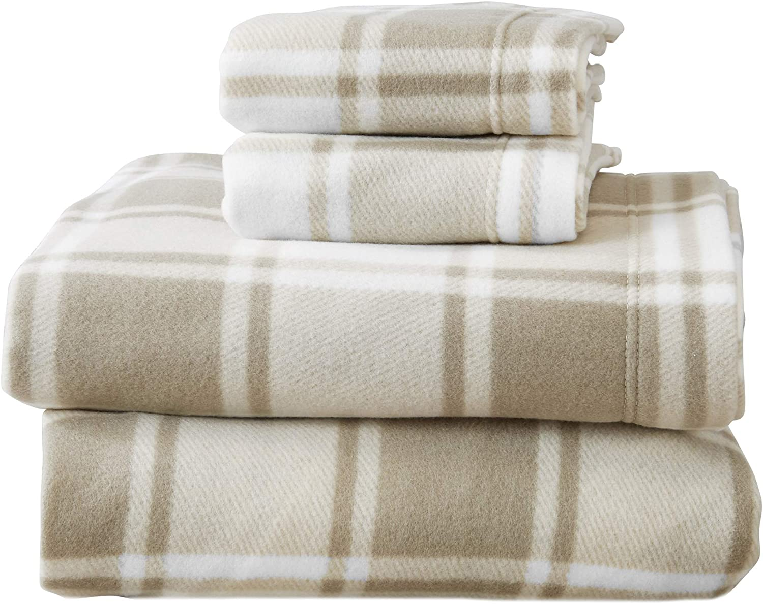 Super Soft Extra Plush Plaid Fleece Sheet Set. Cozy, Warm, Durable, Smooth, Breathable Winter Sheets with Plaid Pattern. Dara Collection by Great Bay Home Brand. (Full, Taupe)