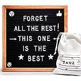 Felt Letter Board - Premium Oak 10x10 Black Felt | Changeable Letter Board by Hauz | 344 White Letters including Emoji, Symbols, and Punctuation | Stylish White cotton bag and hanging hardware