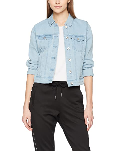 Noisy May Nmdebra L/s Denim Jacket Noos, Chaqueta Vaquera para Mujer, Blanco (Bright White Bright White), 42 (Talla del fabricante: Large)