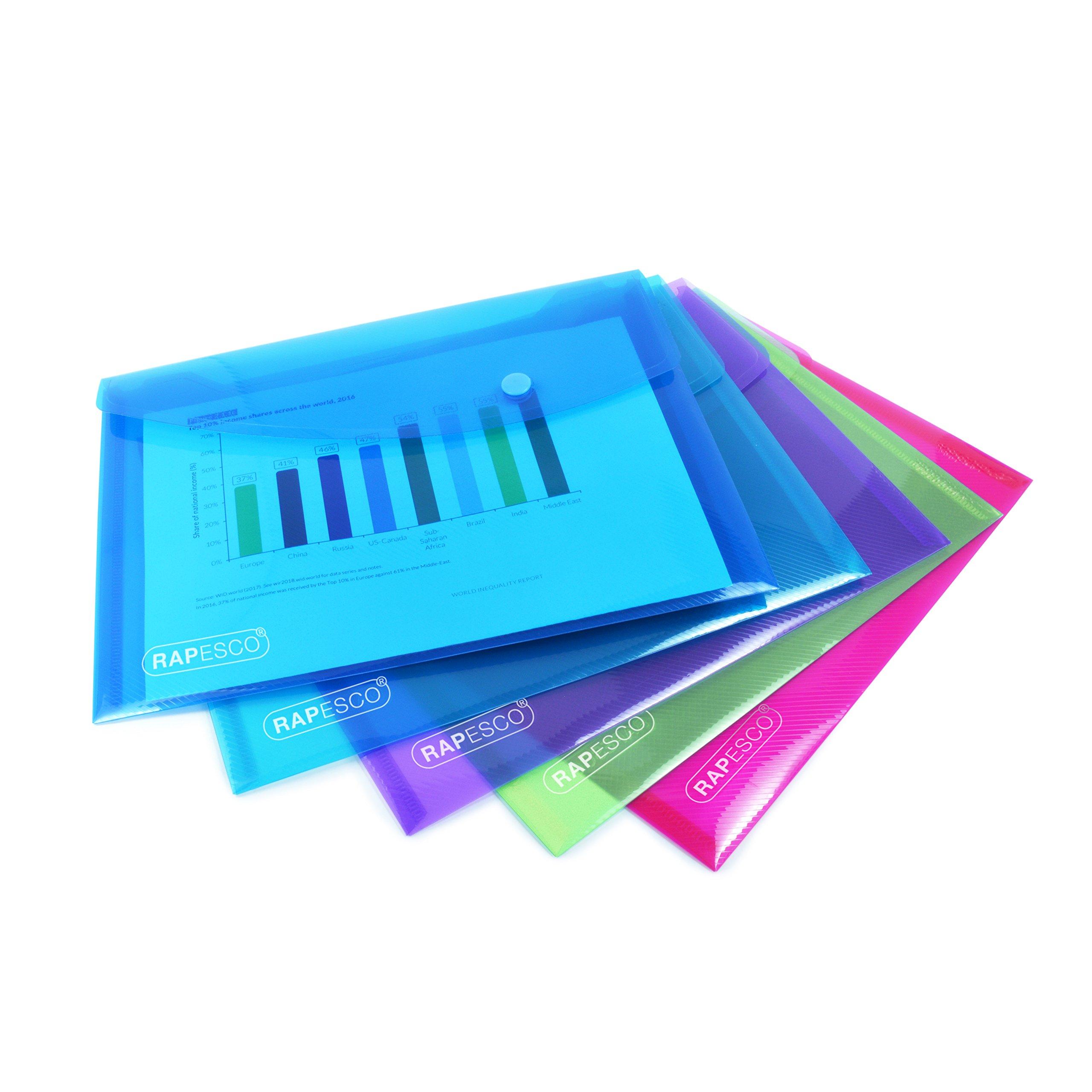 Rapesco Documentos - Carpeta portadocumentos A5, colores variados, 5 unidades