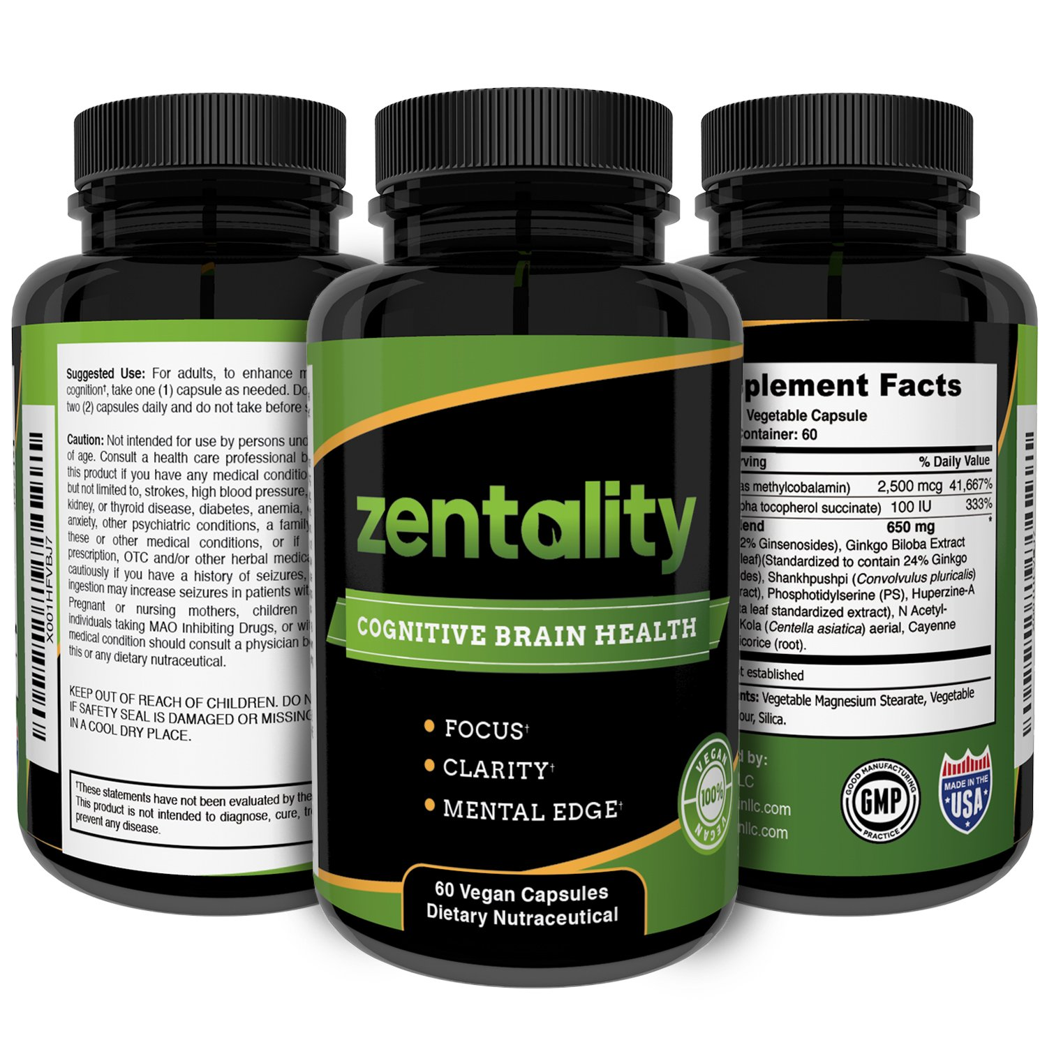 Cognitive Brain Health Supplement, Brain Booster - by Light Within LLC - to Enhance Focus, Mental Clarity, Improve Memory with Asian Ginseng and Ginkgo Biloba