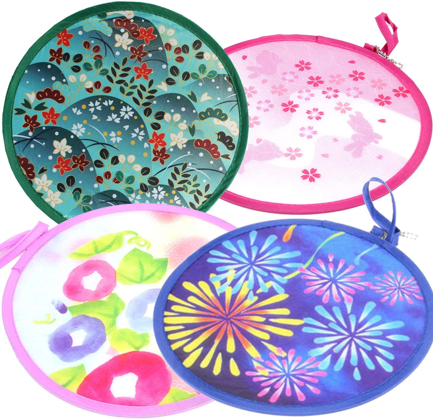 MXY Foldable Fan Japanese Style Summer Handheld Round Folding Fan Beautiful Pattern Festival Decor Wedding Birthdays Home Decoration 4 Units Different Patterns