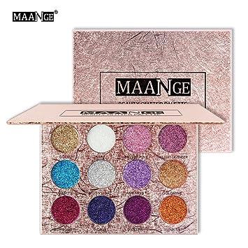 Maange Sombras de Ojos Paletas de Maquillaje de 12 Colores Sombras de Ojos Brillantes Paletas de Colores para Ojos de Maquillaje