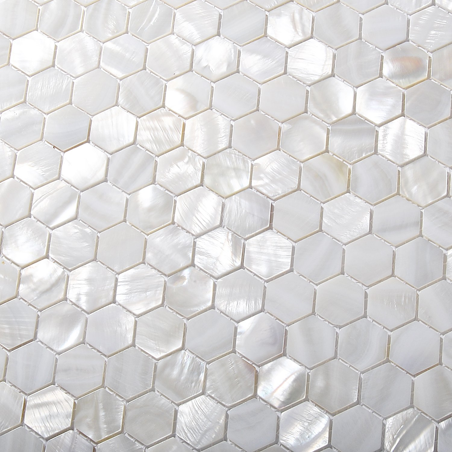 Amazon.com: TST Mother Of Pearl Tiles White Hexagon Shinning Wall ...