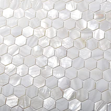 Amazon Com Tst Mother Of Pearl Tiles White Hexagon Shinning Wall