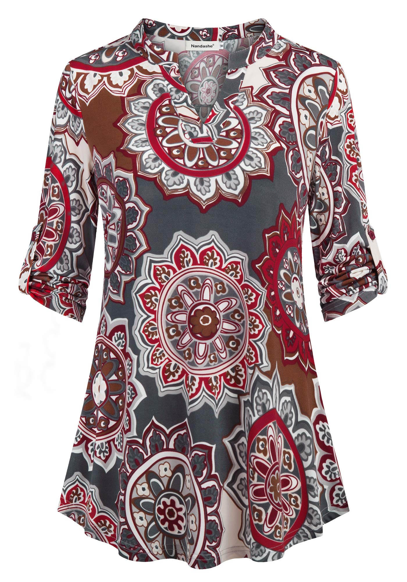 Nandashe Chiffon Blouses for Women 3/4 Sleeve, Women's Sheer Button up Long Sleeve Tunic Blouses Comfy Lightweight Floral Chiffon Blouse Shirt Casual Business Work V Neck Flowy Tops Grey Red M